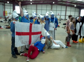 MK Jugglers as Smurfs (runners up in Fancy Dress Contest)