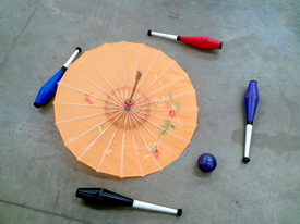 Parasol and Clubs (by Steve the Juggler)