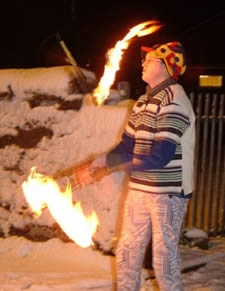 Steve doing some Fire Club Juggling in the Snow!
