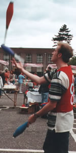 Steve back in the early 90's Juggling Clubs at a Charity Fete for Children's 1st