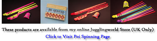 Spinning Poi products from Jugglingworld store including the ever excellent Erik's poi's!